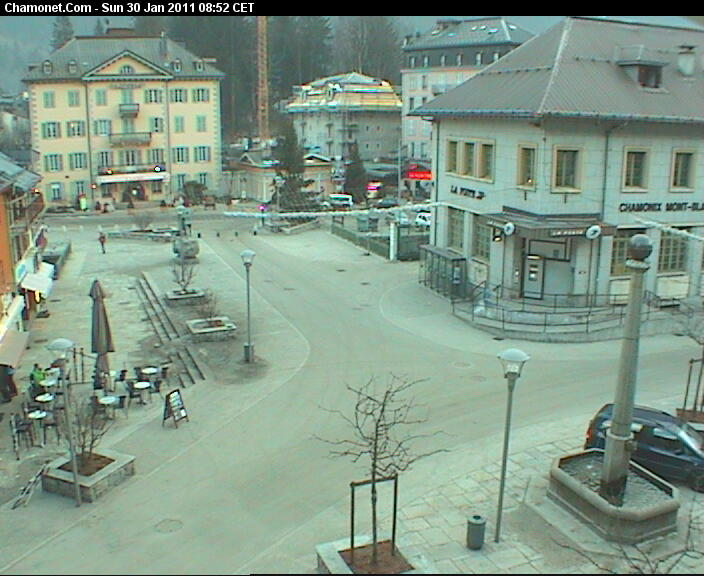 Place Balmat in the heart of the city of Chamonix